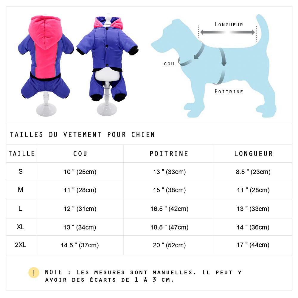Tailles du vêtement hiver pour chien